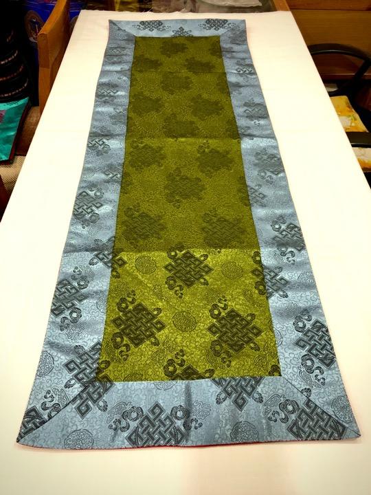 Tibetan Light Silk Brocade Green Endless Knot Runner