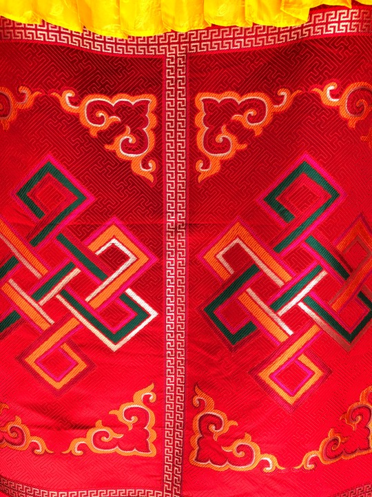 Tibetan Silk Brocade Endless Knot Door Hanging