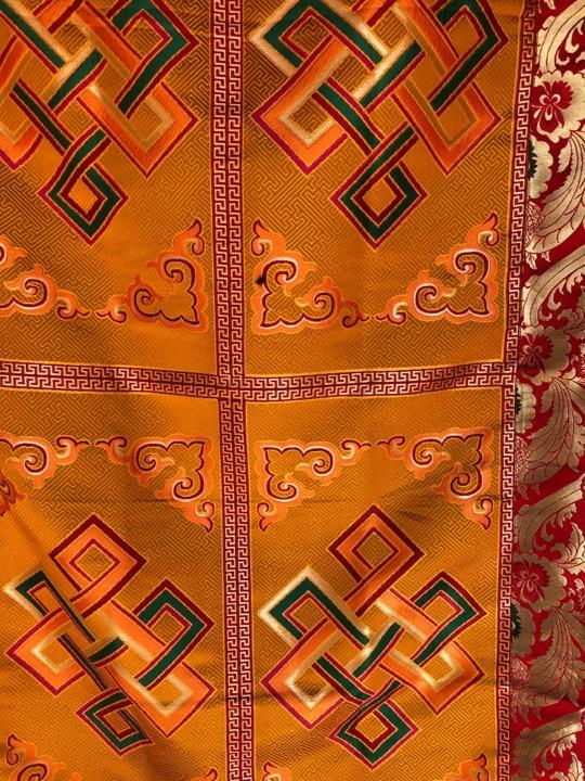 Tibetan Silk Brocade Endless Knot Large Table Cover