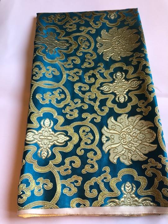 Tibetan Lotus Turquoise Silk Brocade/fabrics