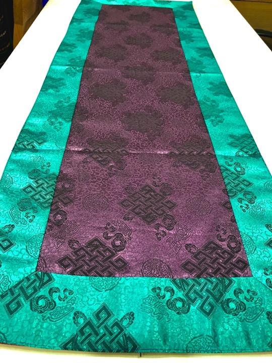 Tibetan Light Silk Brocade Purple Endless Knot Runner