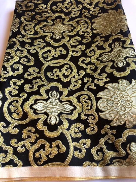 Tibetan Lotus Design Black Gold Silk Brocade/fabrics
