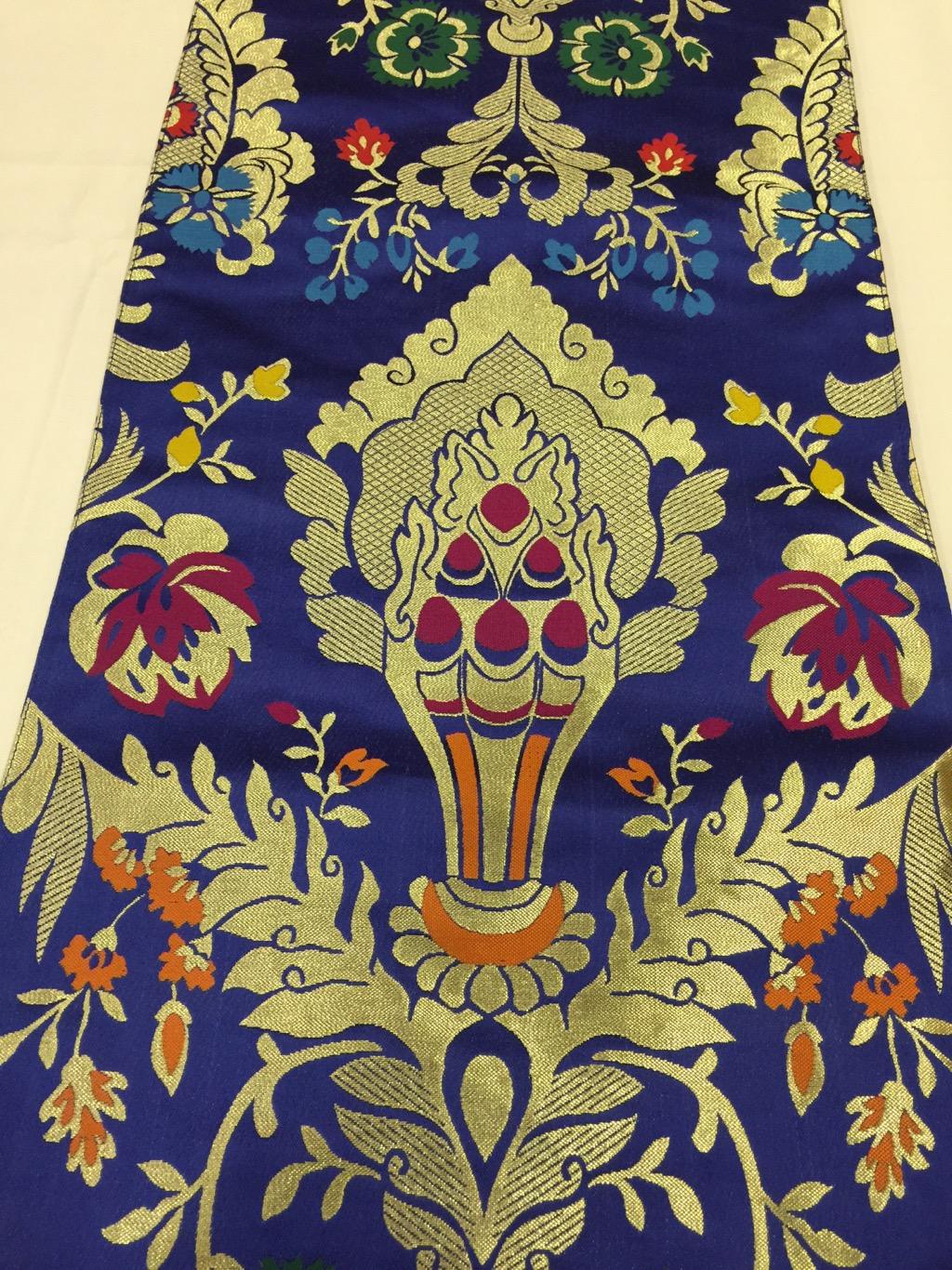 Tibetan Norbu Silk Brocade Runner With Blessed Tassel/Table Cover