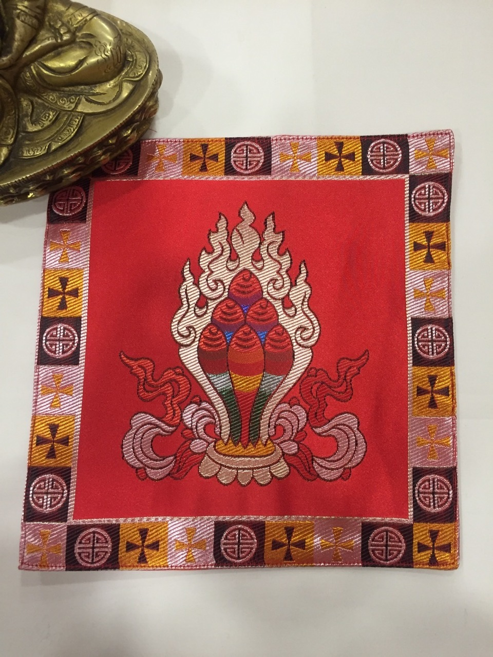 Tibetan Silk Red Norbu Placemat / Table Cover