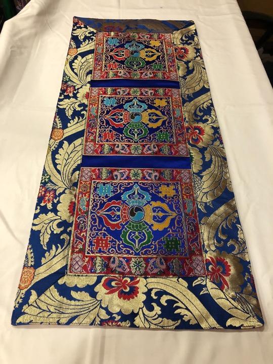 Tibetan Brocade Double Dorje Blue Table Runner