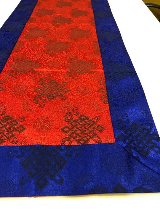 Tibetan Light Silk Brocade Red Endless Knot Runner