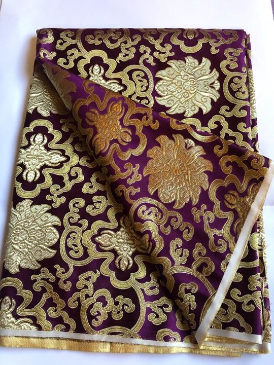 Tibetan Lotus Burgundy Silk Brocade/fabrics