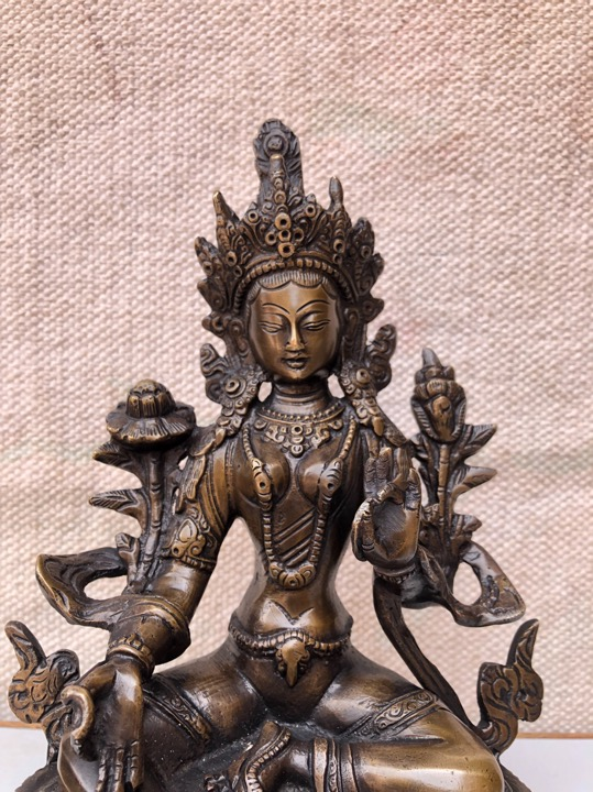 Nepalese Buddhist Handmade Green Tara Statue