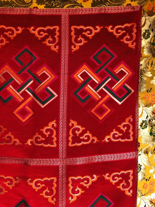 Tibetan Silk Brocade Endless Knot Large Table Cover