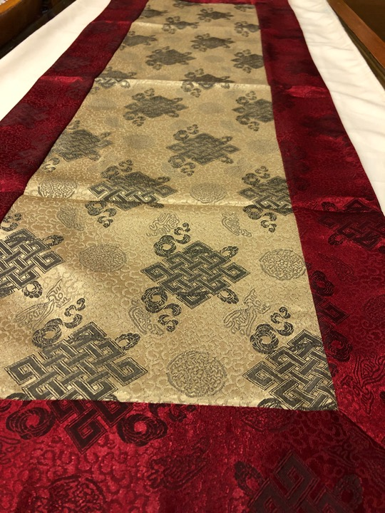 Tibetan Light Silk Brocade Silver Endless Knot Runner