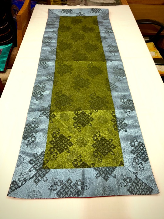 Tibetan Light Silk Brocade Green Endless Knot Runner