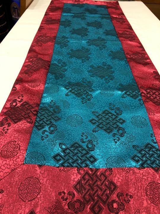 Tibetan Light Silk Brocade Turquoise Endless Knot Runner