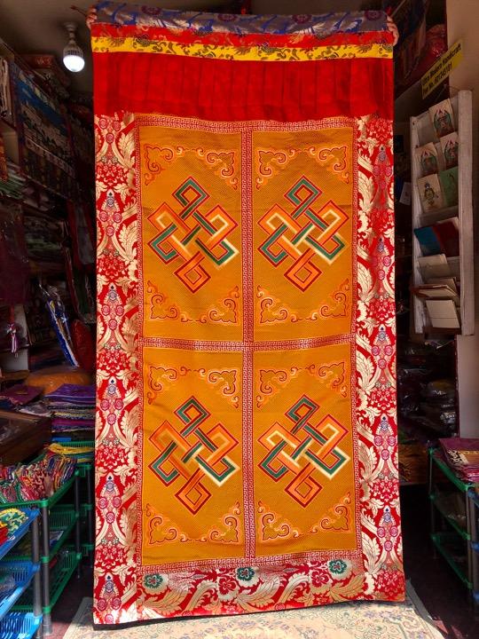 Tibetan Silk Brocade Endless Knot Door Hanging