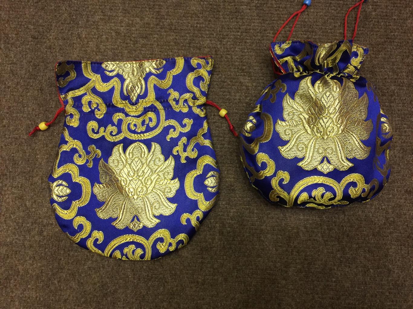 Tibetan Large Size Silk Blue Lotus Mala Bag