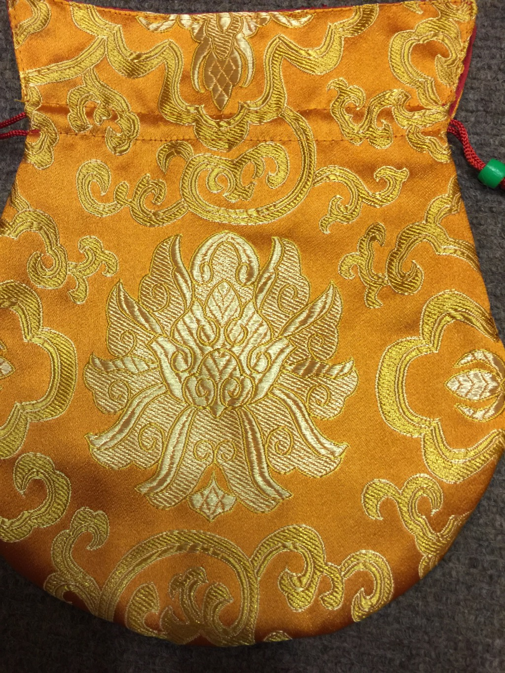 Tibetan Large Size Silk Orange Lotus Mala Bag