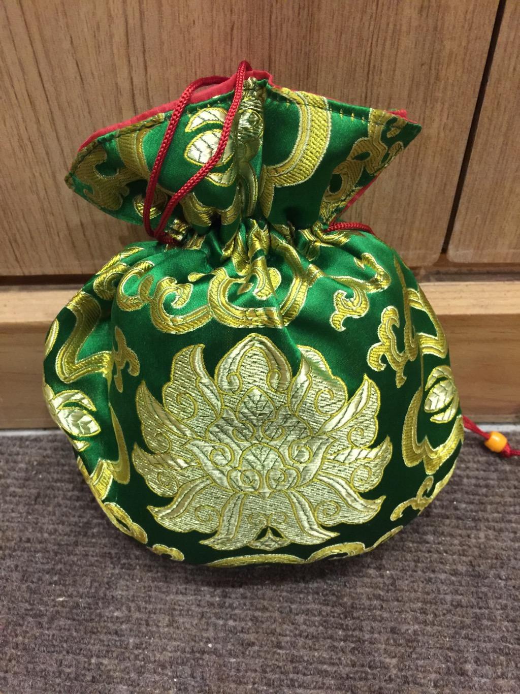 Tibetan Large Size Silk Green Lotus Mala Bag