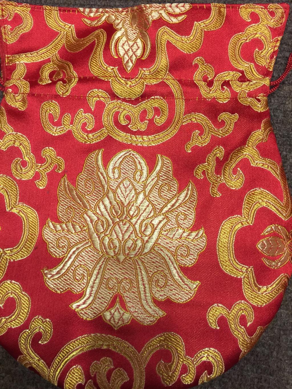 Tibetan Large Size Silk Red Lotus Mala Bag