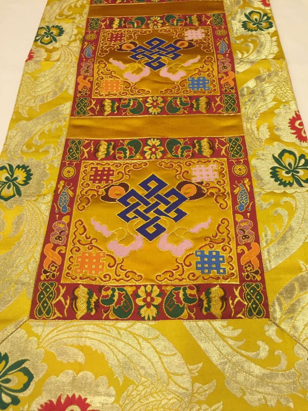 Tibetan Brocade Endless Knot Yellow Table Runner