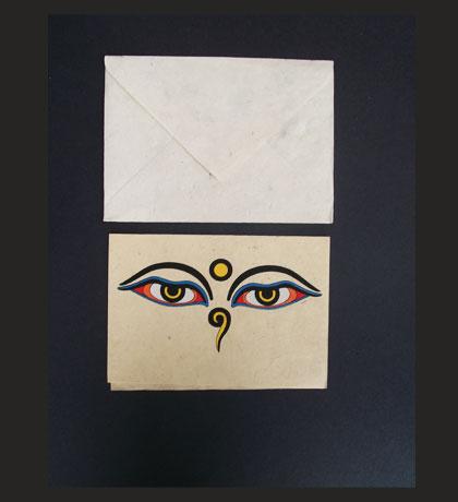 Buddha Eyes Lokta Paper Greeting Card