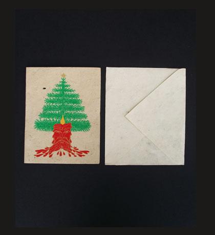 Christmas Tree Lokta Paper Greeting Card.