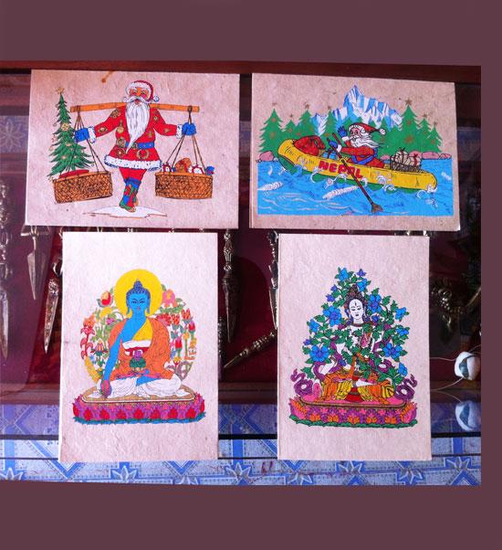 Nepalese Lokta Paper Greeting Cards /4 Piece Set
