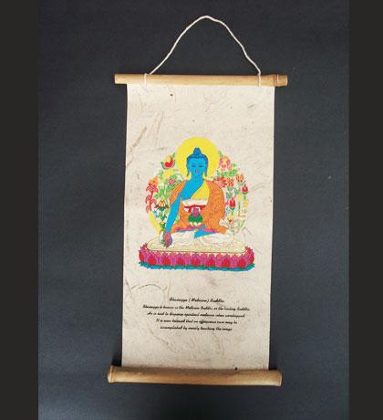 Medicine Buddha Lokta Paper Wall Hanging