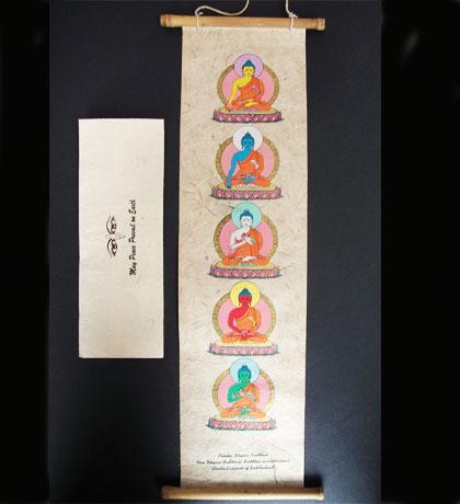 Lokta Paper 5 Buddha Wall Hanging