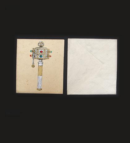 Prayer Wheel Lokta Paper Greeting Card
