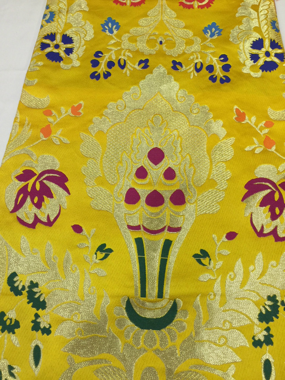 Tibetan Norbu Silk Brocade Runner With Blessed Tassel/Table Cover